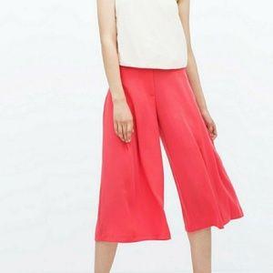 Zara basics wide leg coral capris